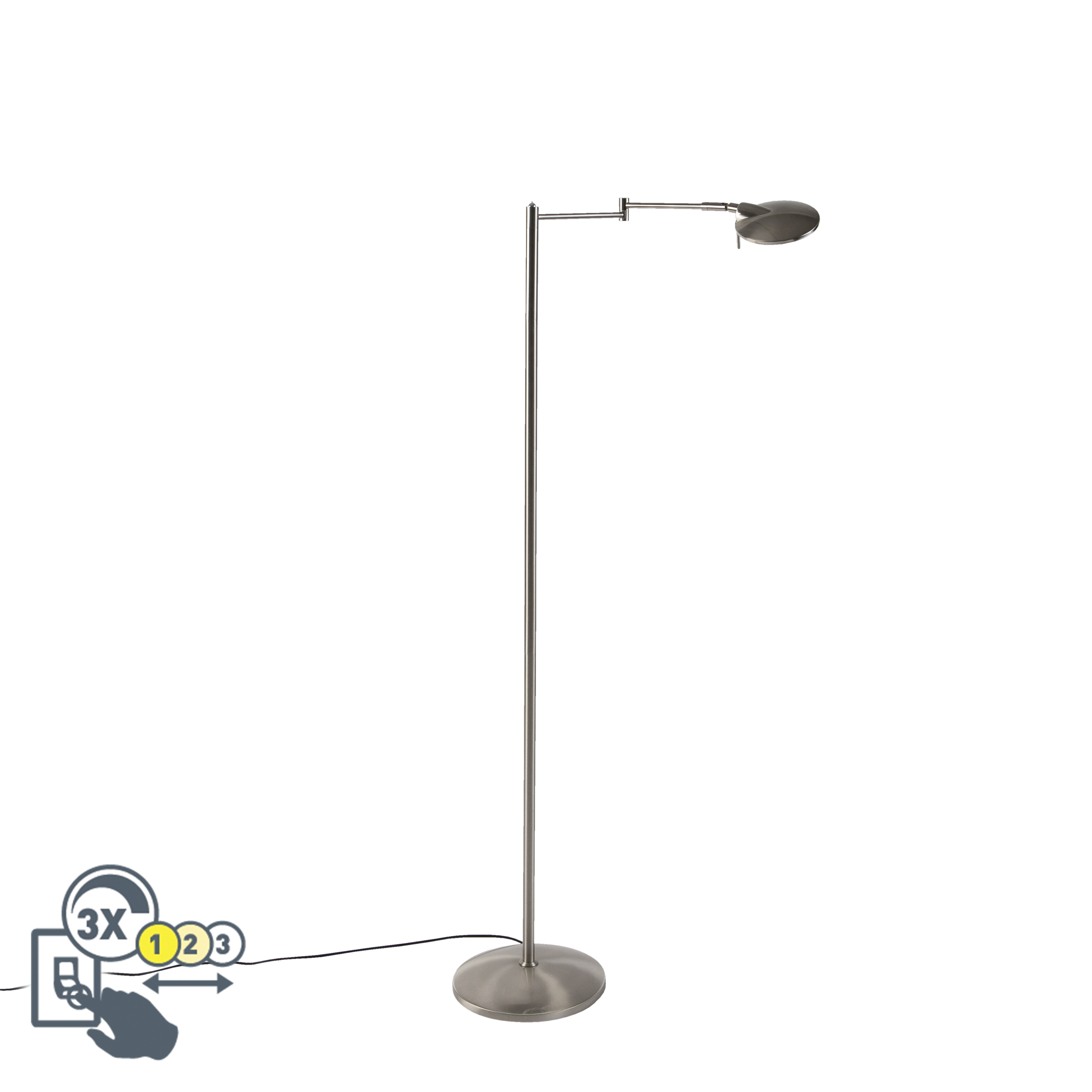 Moderne zwenkbare leeslamp staal incl. LED en dimmer - Kazam