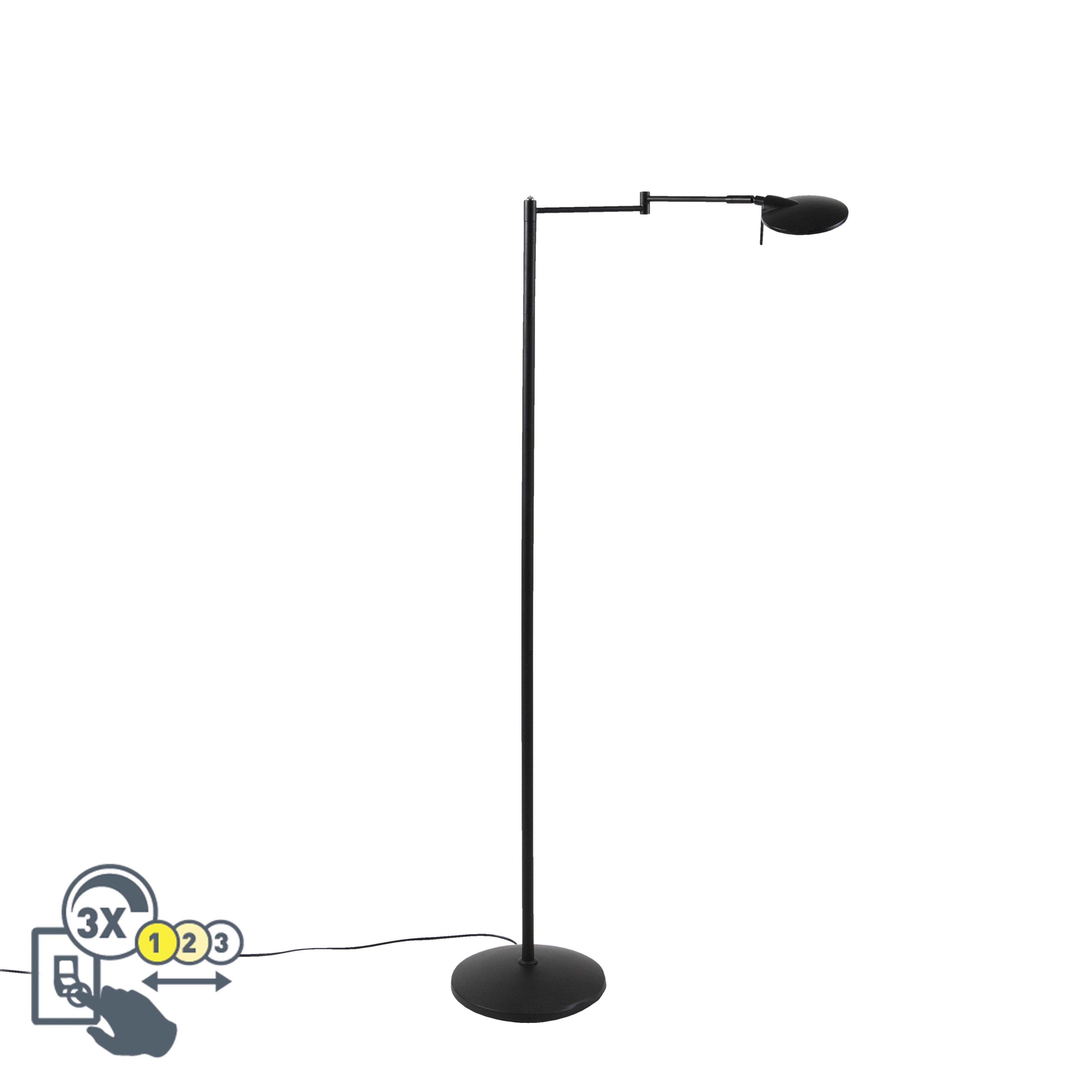 Moderne zwenkbare leeslamp zwart incl. LED en dimmer - Kazam