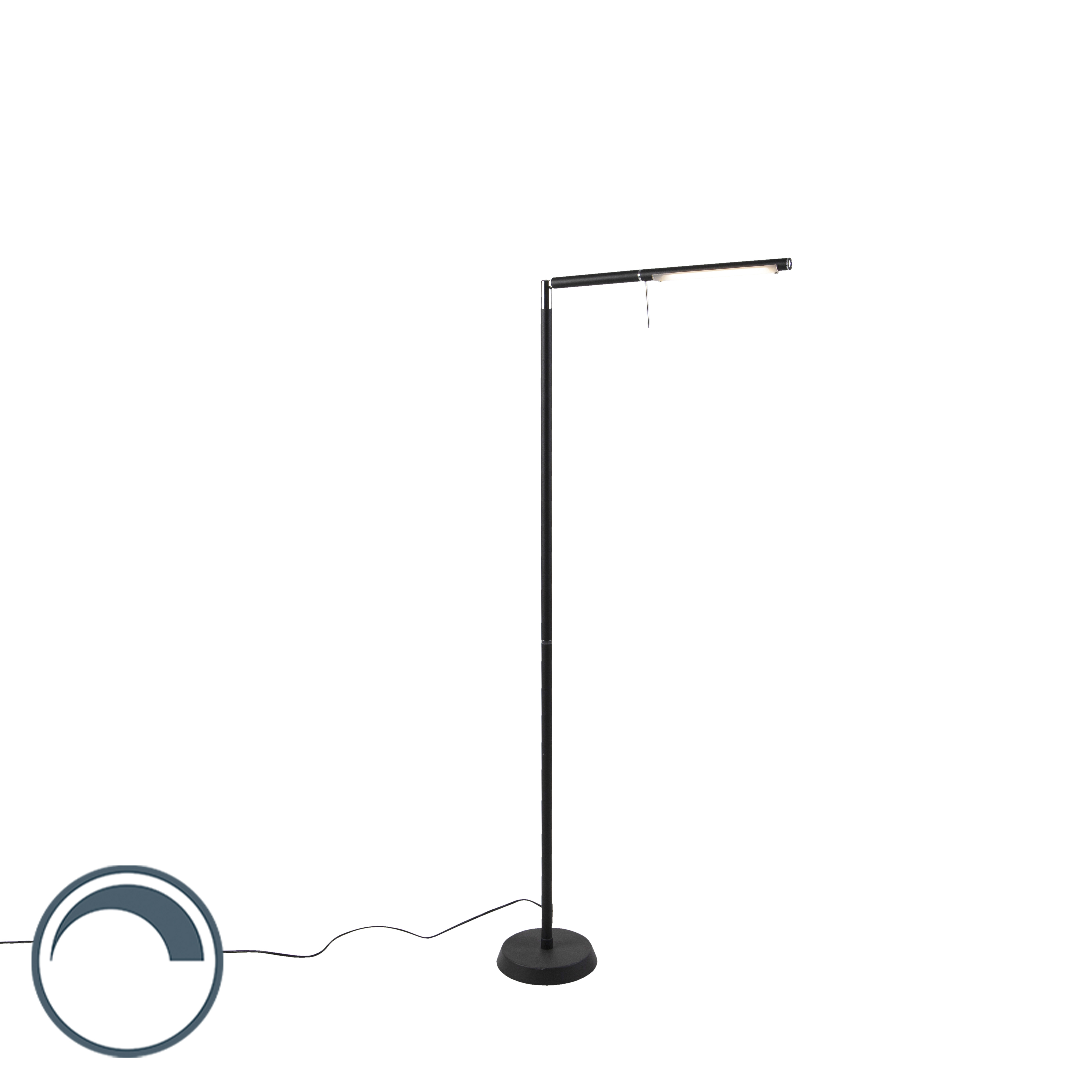 Moderne vloerlamp zwart incl. LED dimbaar - Grando