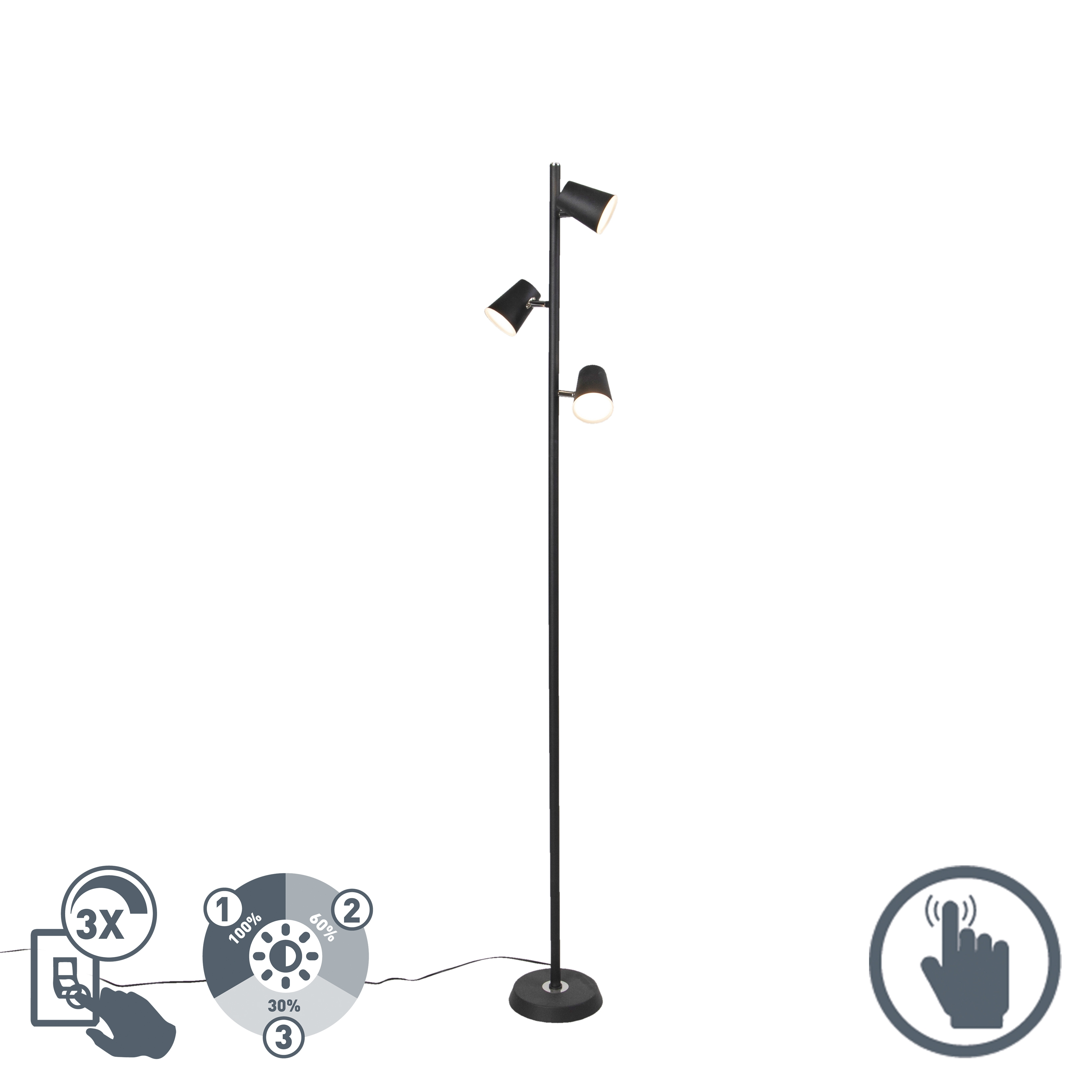 Moderne vloerlamp zwart 3-lichts incl. LED - Coupe