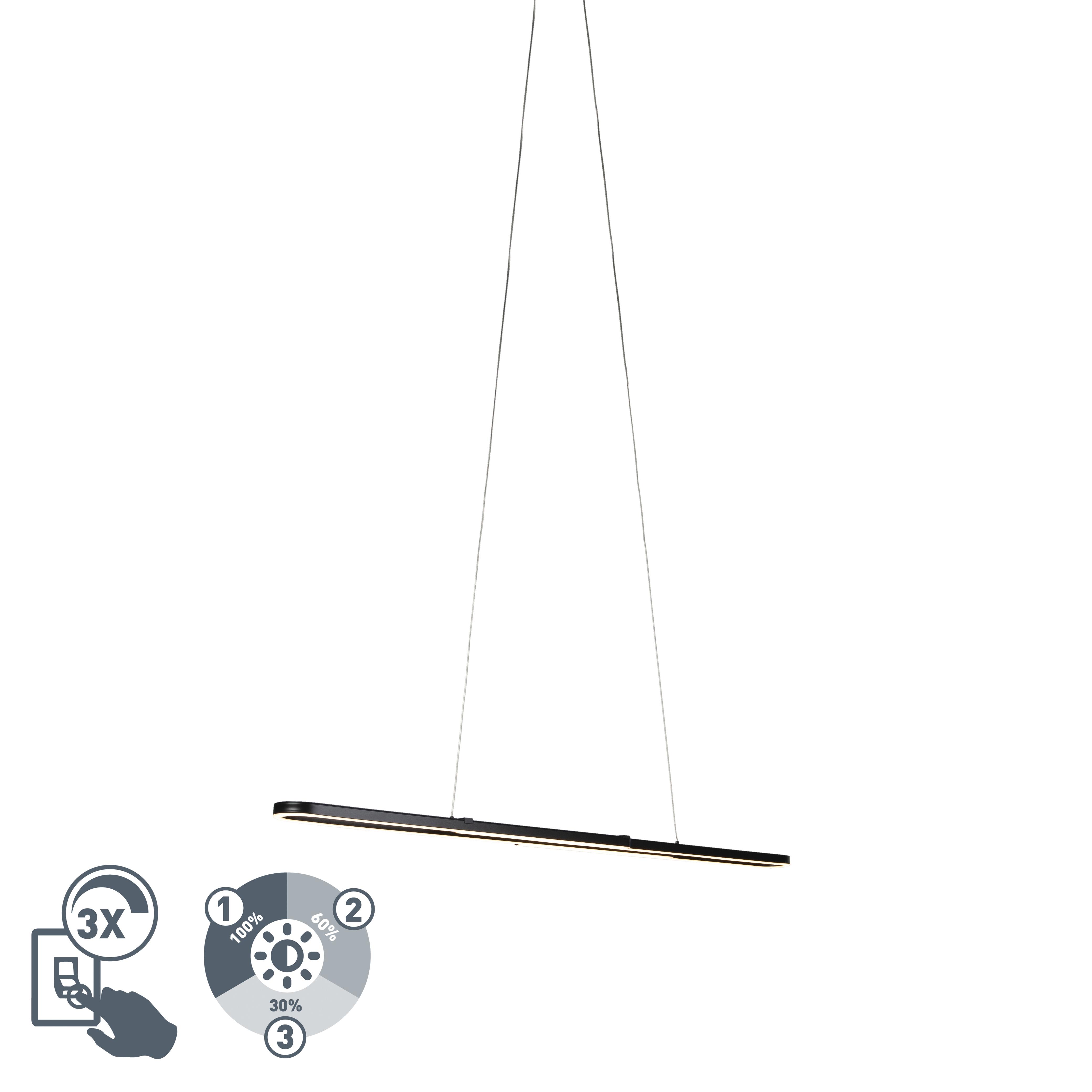 Design hanglamp zwart verlengbaar incl. LED - Romeo