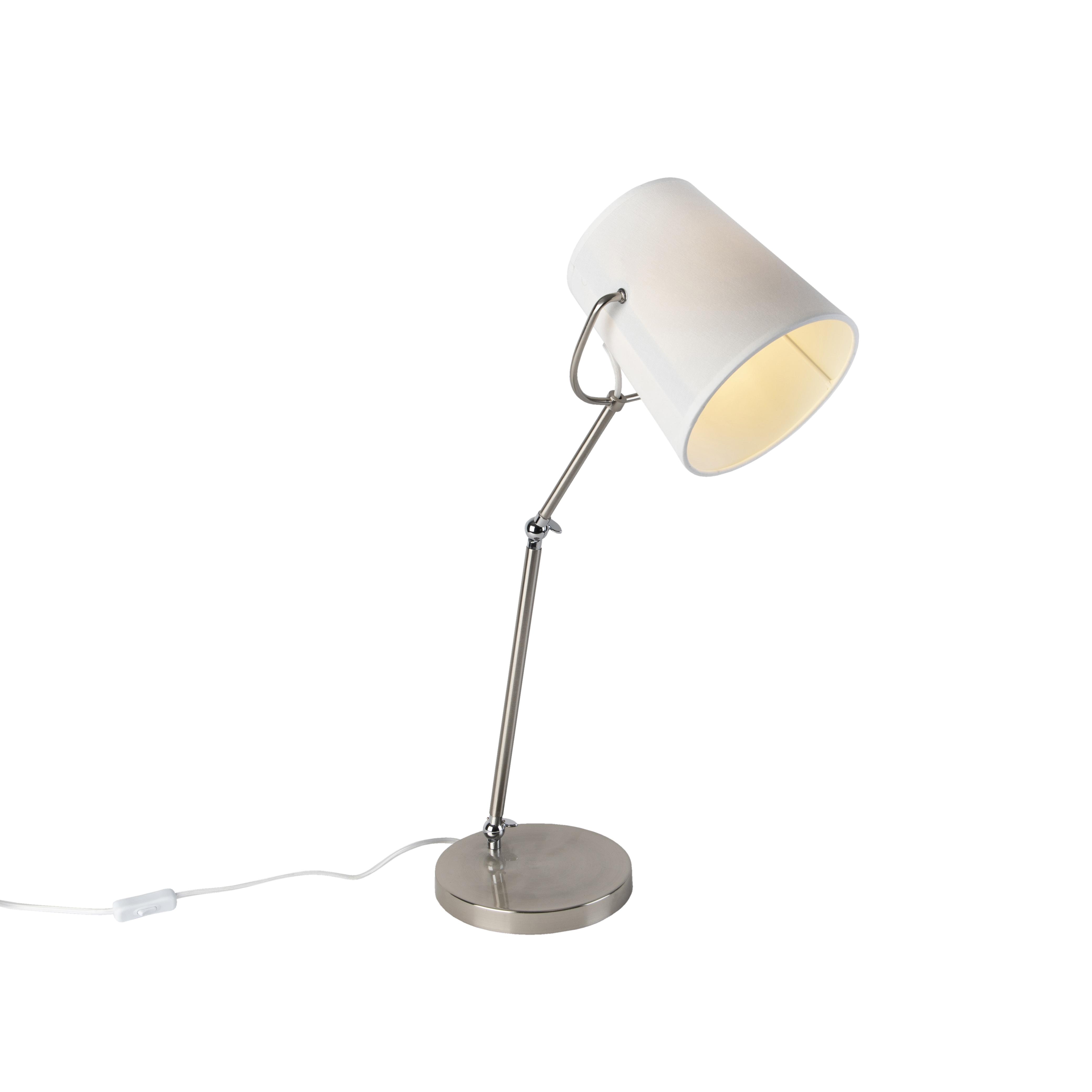 Moderne tafellamp staal met witte kap - Meral