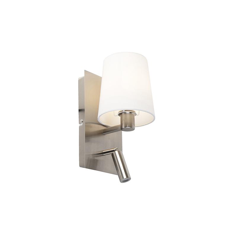 Moderne wandlamp staal met witte kap incl. LED - Merlot