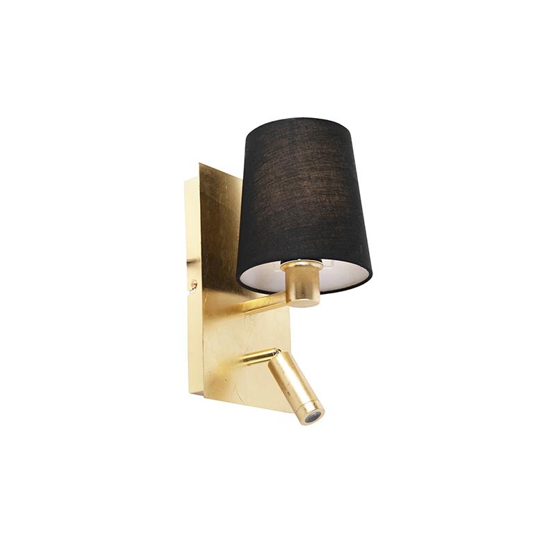 Design wandlamp goud met zwarte kap incl. LED - Merlot