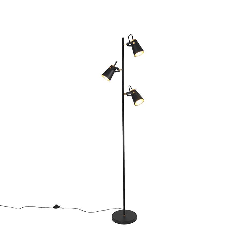 Art Deco vloerlamp zwart 3-lichts - Eddie