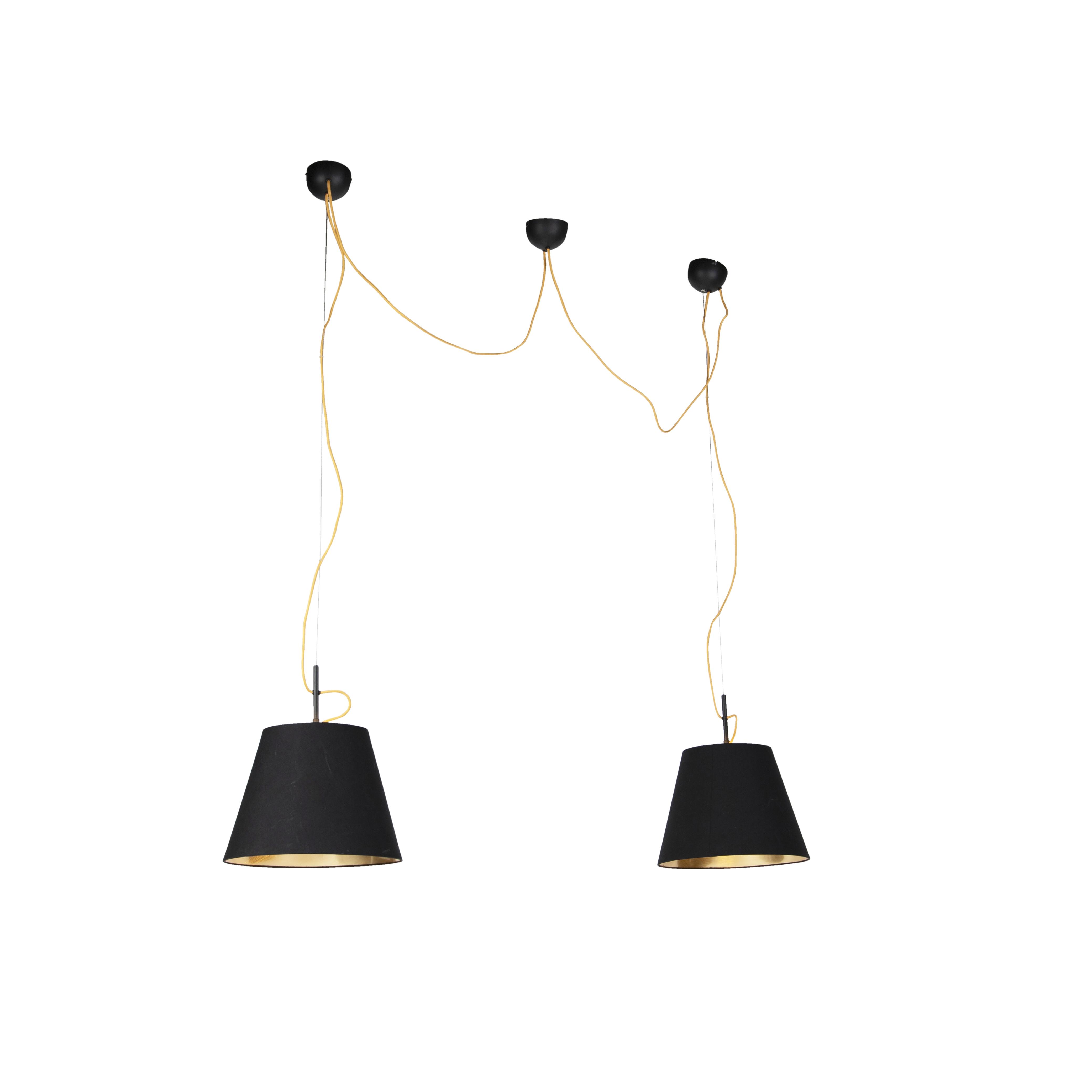 Moderne hanglamp zwart gouden binnenkant 2-lichts - Andrie