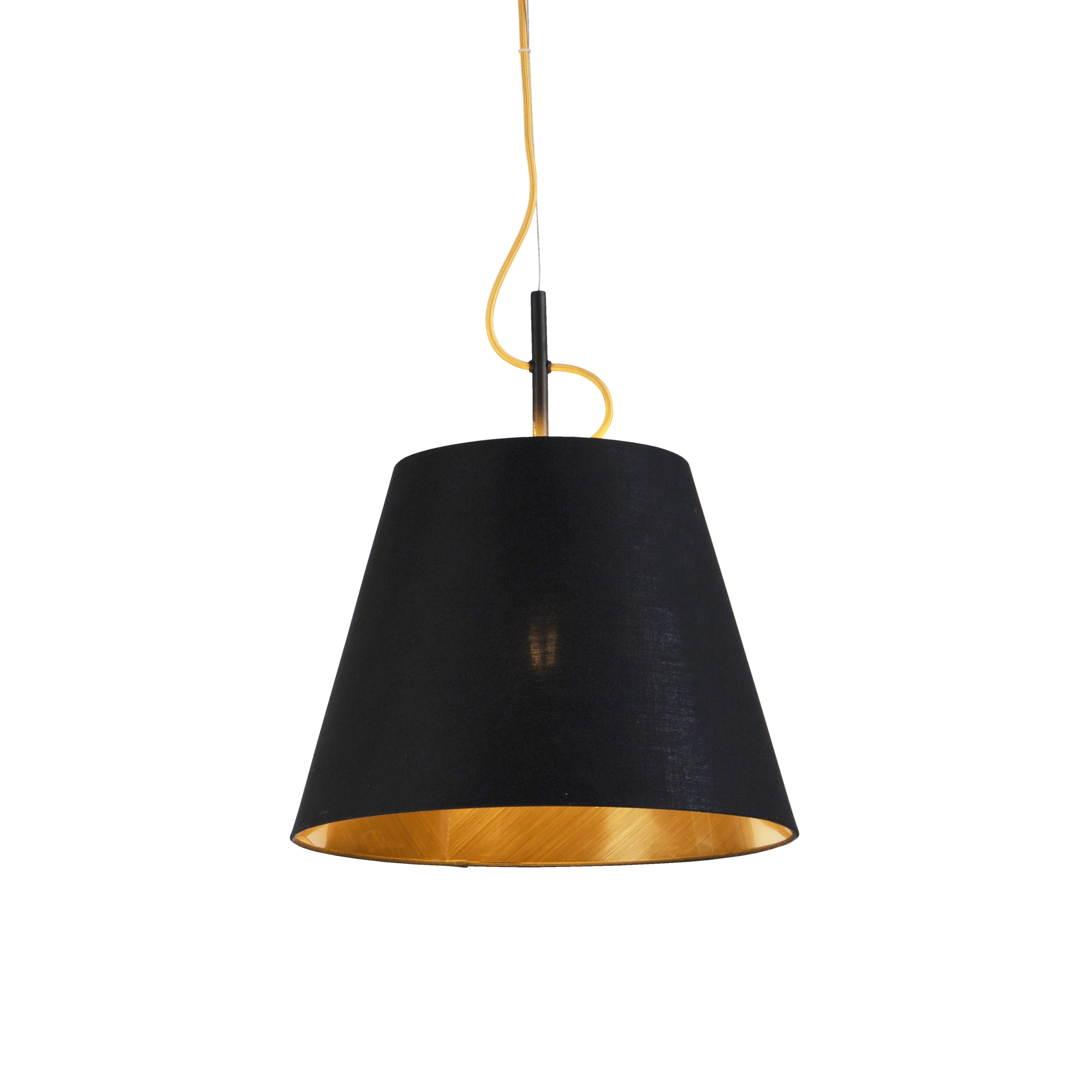 Nowoczesna lampa wisząca czarna ze złotem - Andrie