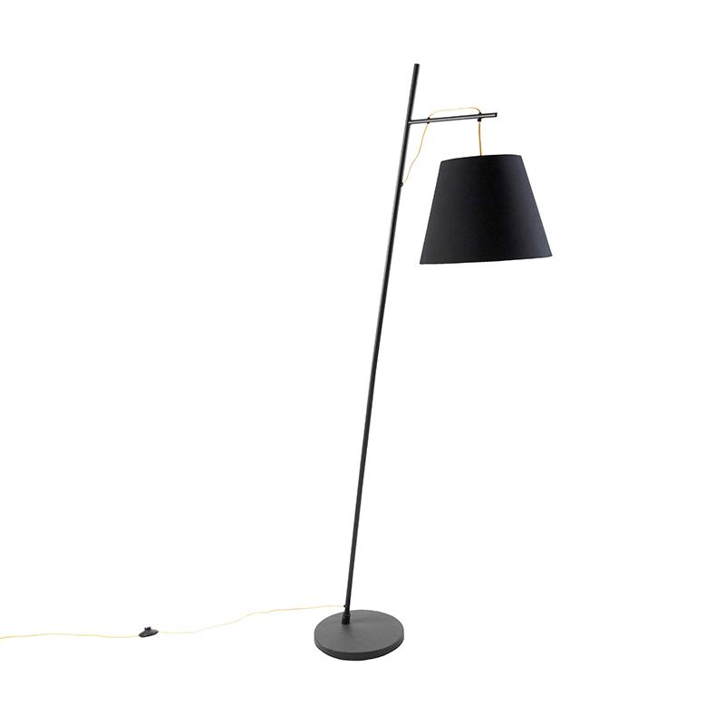 Nowoczesna lampa stojąca czarna z kloszem czarno-złotym - Andrie