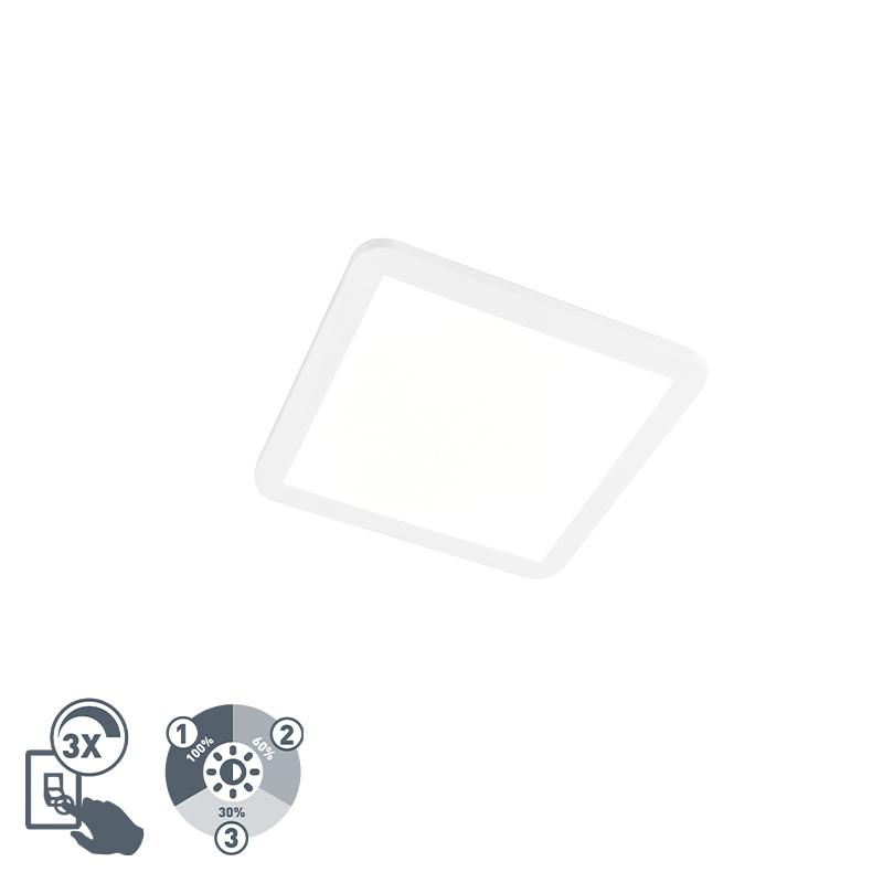 Plafondlamp wit 30 cm vierkant incl. LED IP44 - Camilla