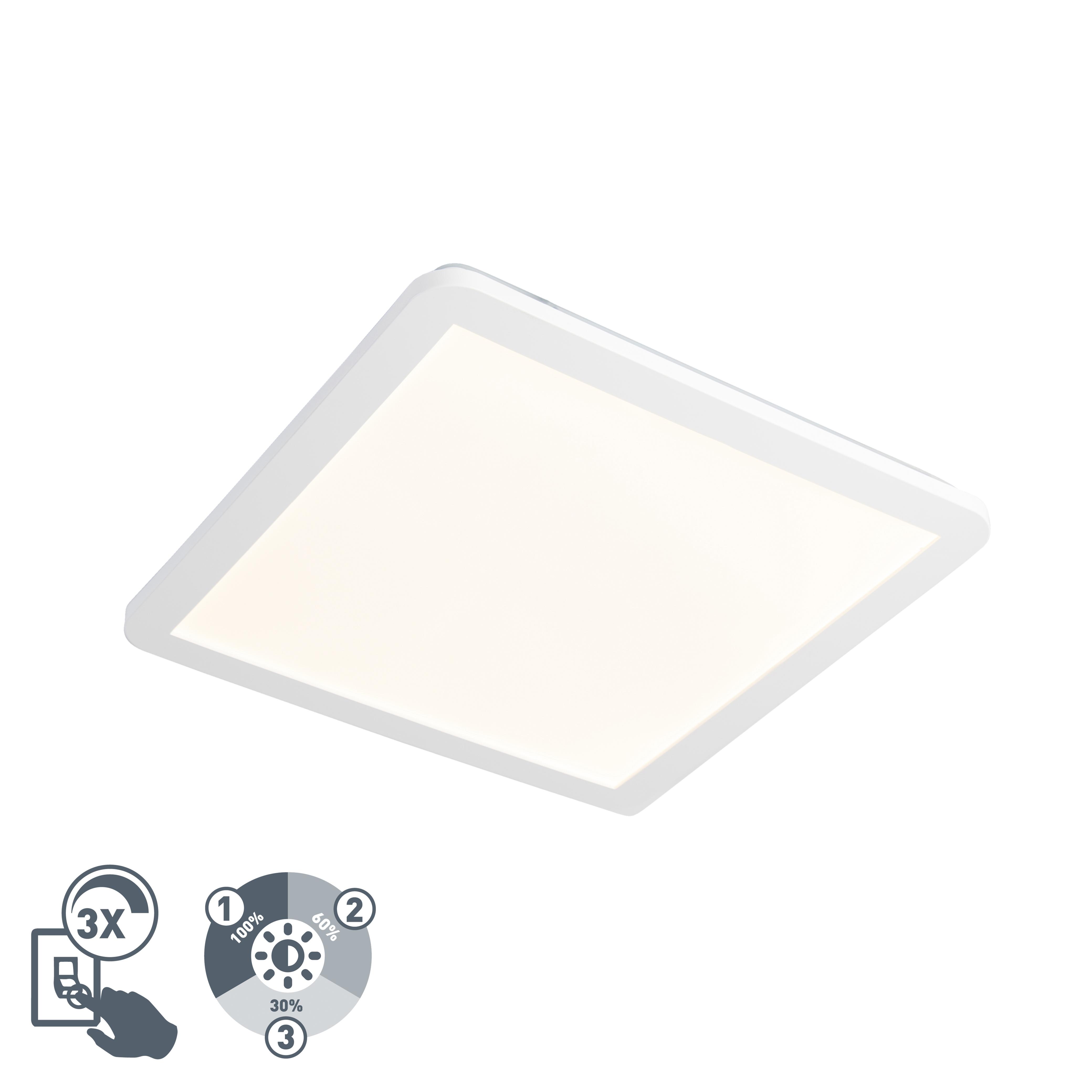 Plafon kwadratowy biały 40cm IP44 3-stopniowe ściemnianie LED - Camilla