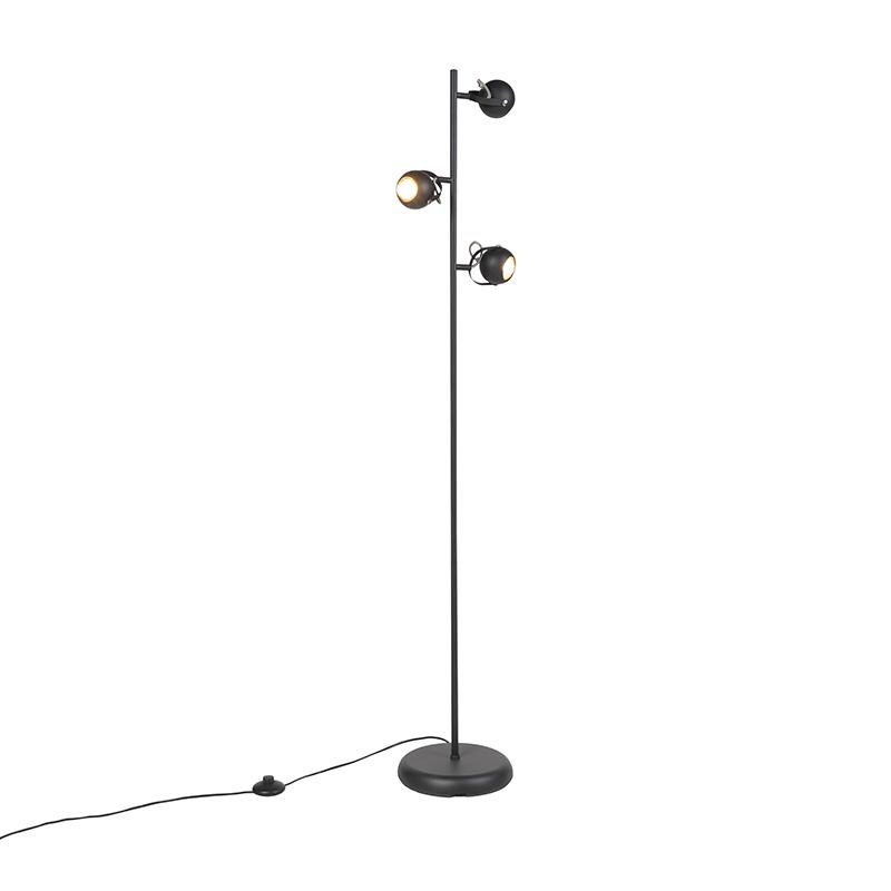 Moderne vloerlamp zwart 3-lichts - Bastion