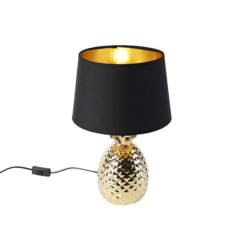 Art Deco tafellamp goud met zwart-gouden kap - Pina