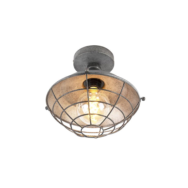 Industriele plafondlamp antiek zilver 25,5cm - Course