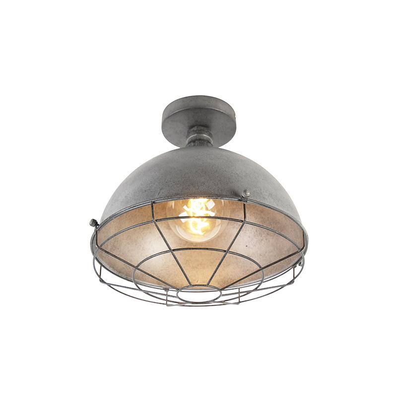 Industriele plafondlamp antiek zilver 30cm - Course
