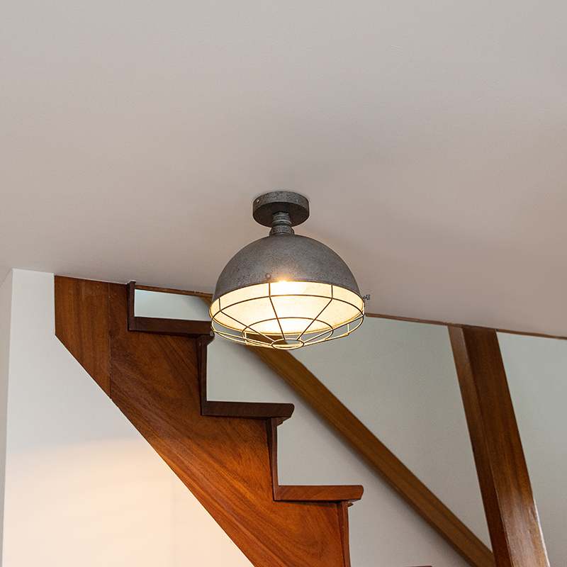 Industriële plafondlamp antiek zilver 32 cm - Course