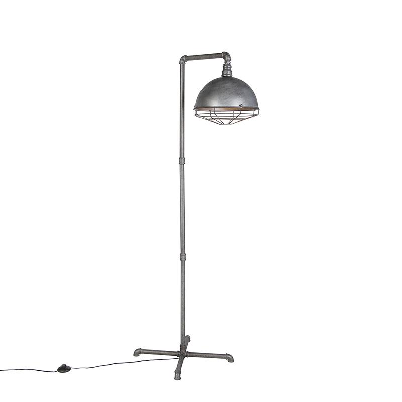 Industri�le vloerlamp antiek zilver - Course