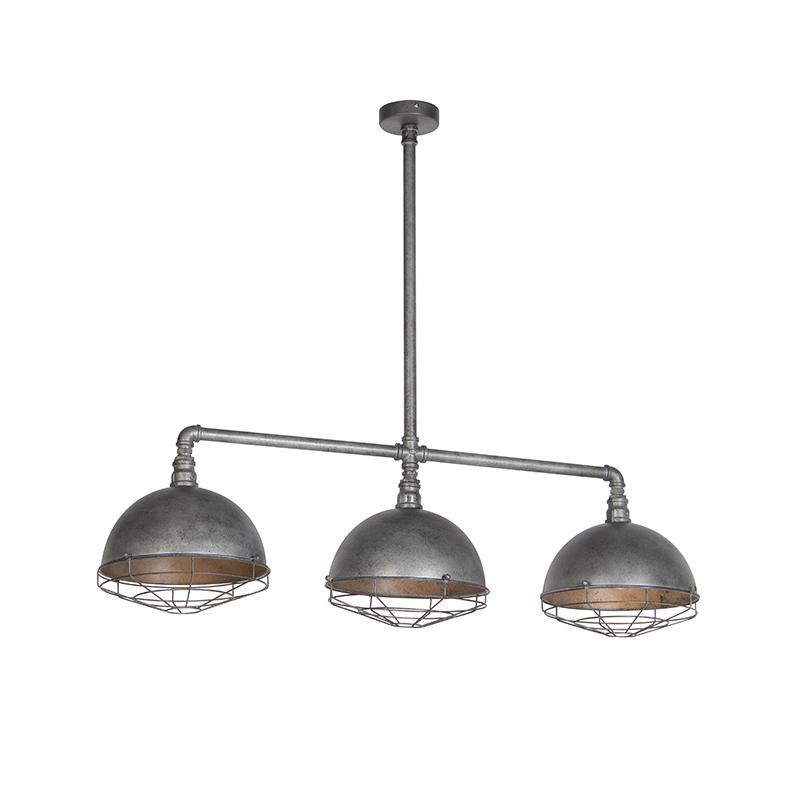 Industriele hanglamp antiek zilver 3-lichts - Course