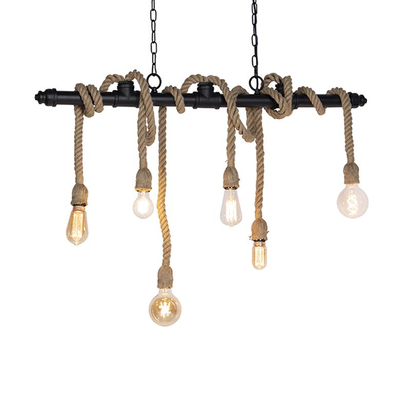 Industri�le hanglamp zwart 6-lichts - Plural