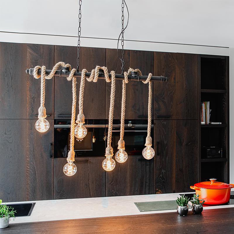 Industriële hanglamp zwart 6-lichts - Plural