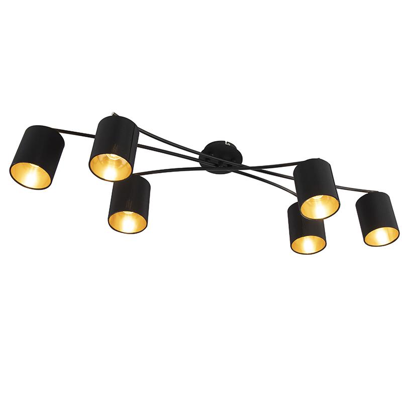 Moderne plafondlamp zwart 6-lichts - Lofty