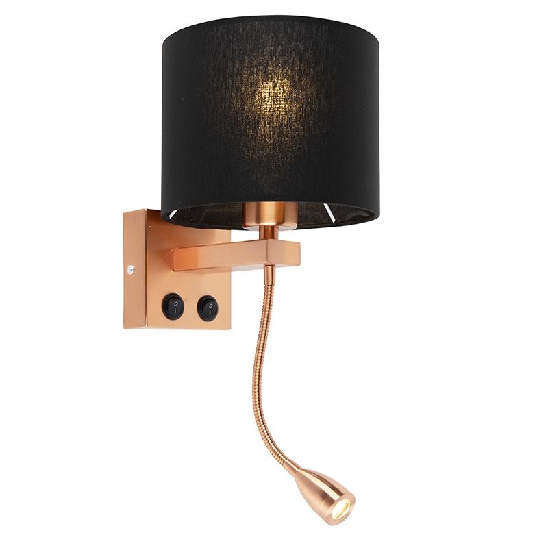 Moderne wandlamp Brescia koper met zwarte kap 18/18/14