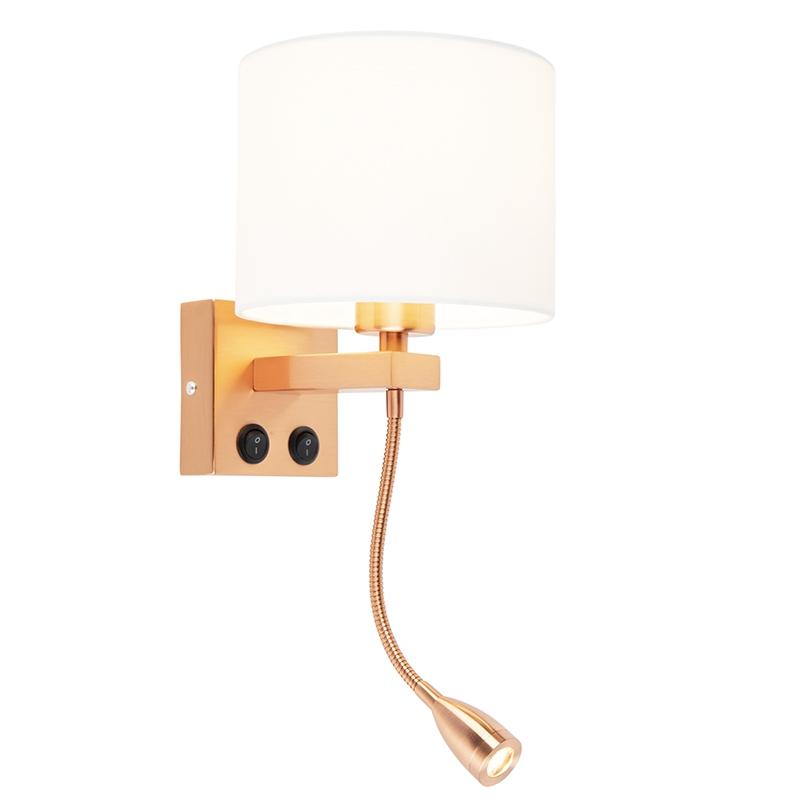 Moderne wandlamp Brescia koper met witte kap 18/18/14