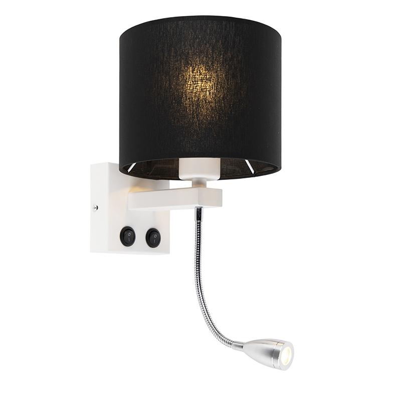 Moderne wandlamp Brescia wit met zwarte kap 18/18/14
