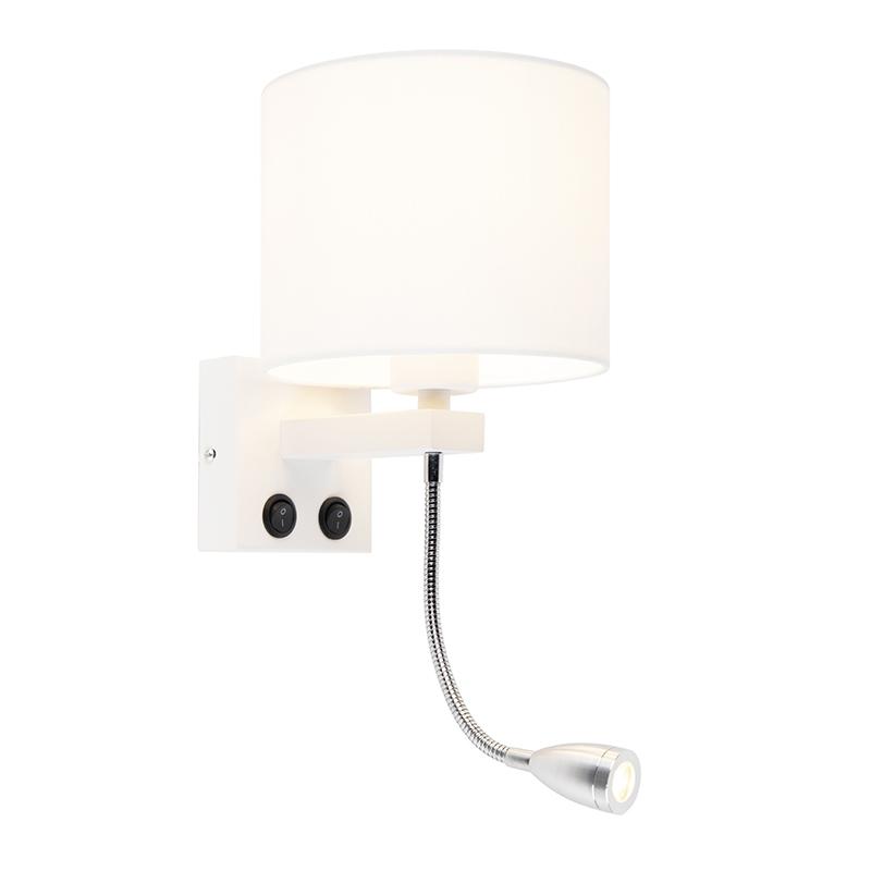 Moderne wandlamp Brescia wit met witte kap 18/18/14