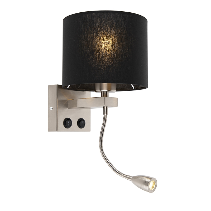 Moderne wandlamp Brescia staal met zwarte kap 18/18/14