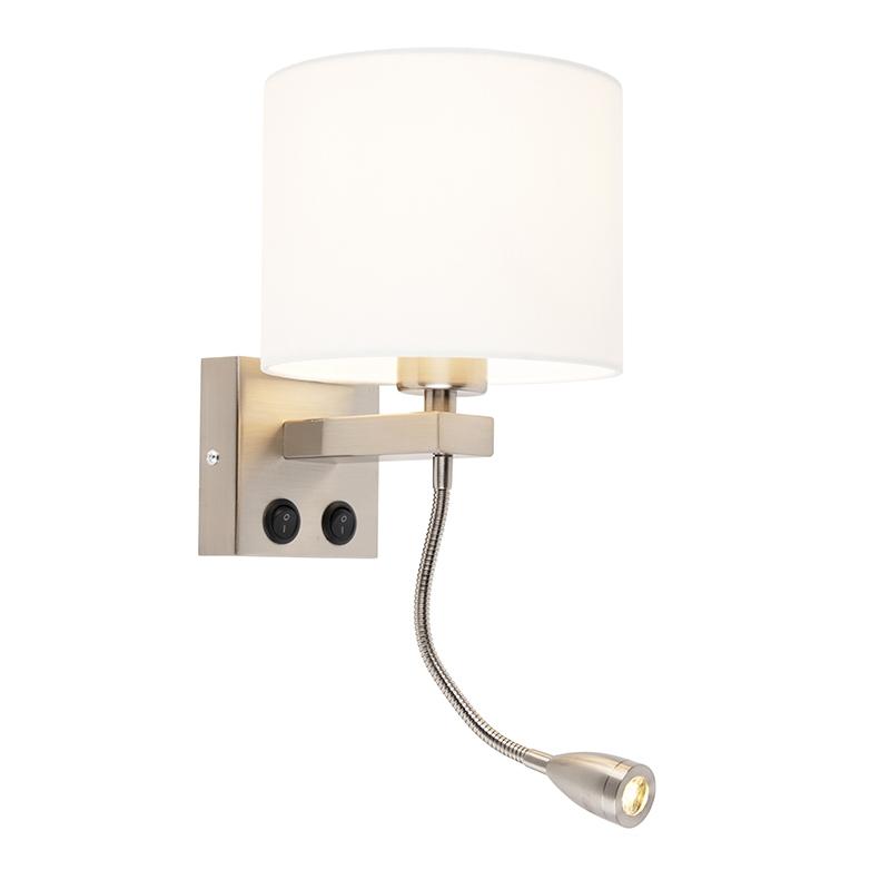 Moderne wandlamp Brescia staal met witte kap 18/18/14