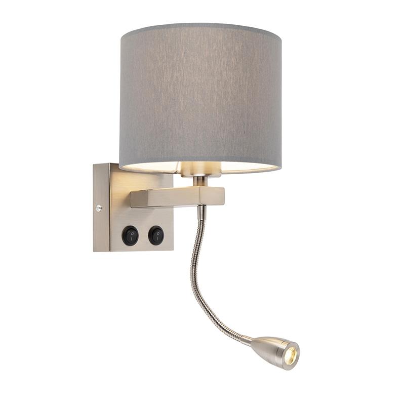 Moderne wandlamp Brescia staal met grijze kap 18/18/14