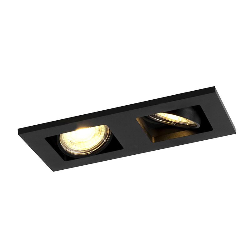 Foco rectangular empotrable 2 luz negro - Qure