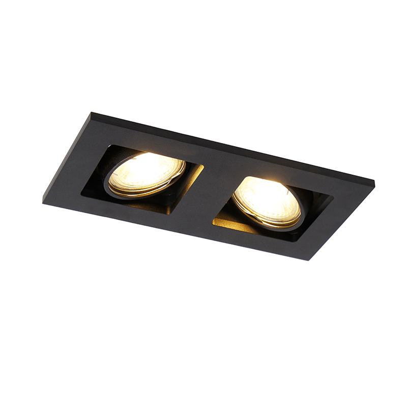 Rechthoekige inbouwspot 2- lichts zwart - Qure