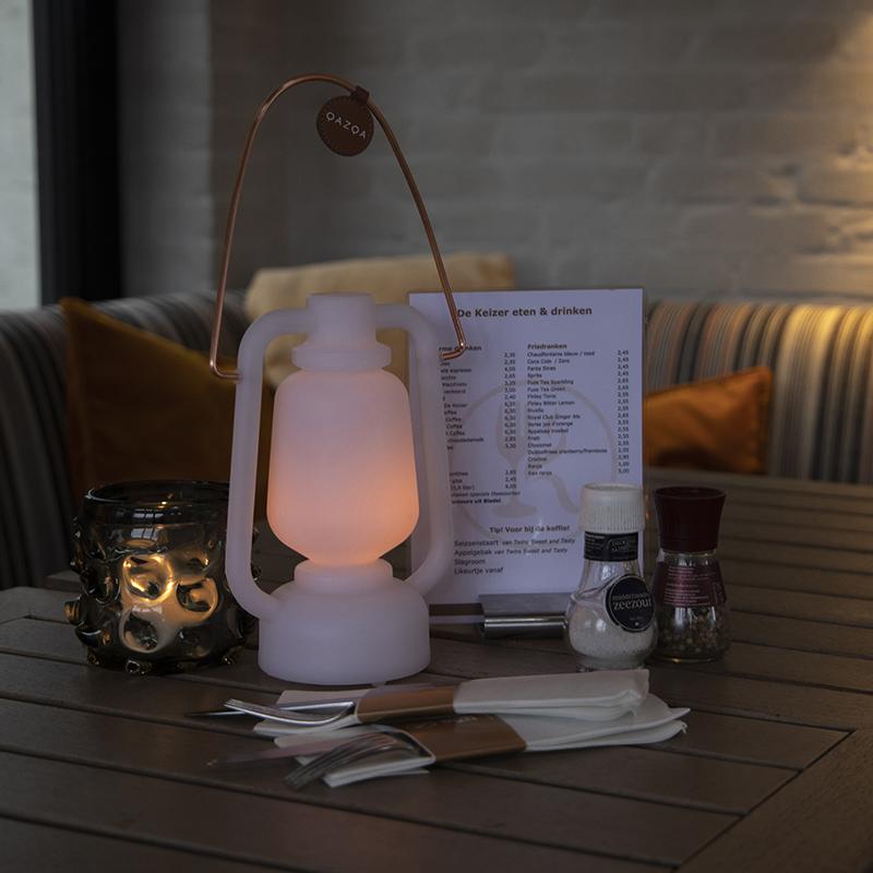 Tafellamp wit flame effect 22 cm - Storm Mini