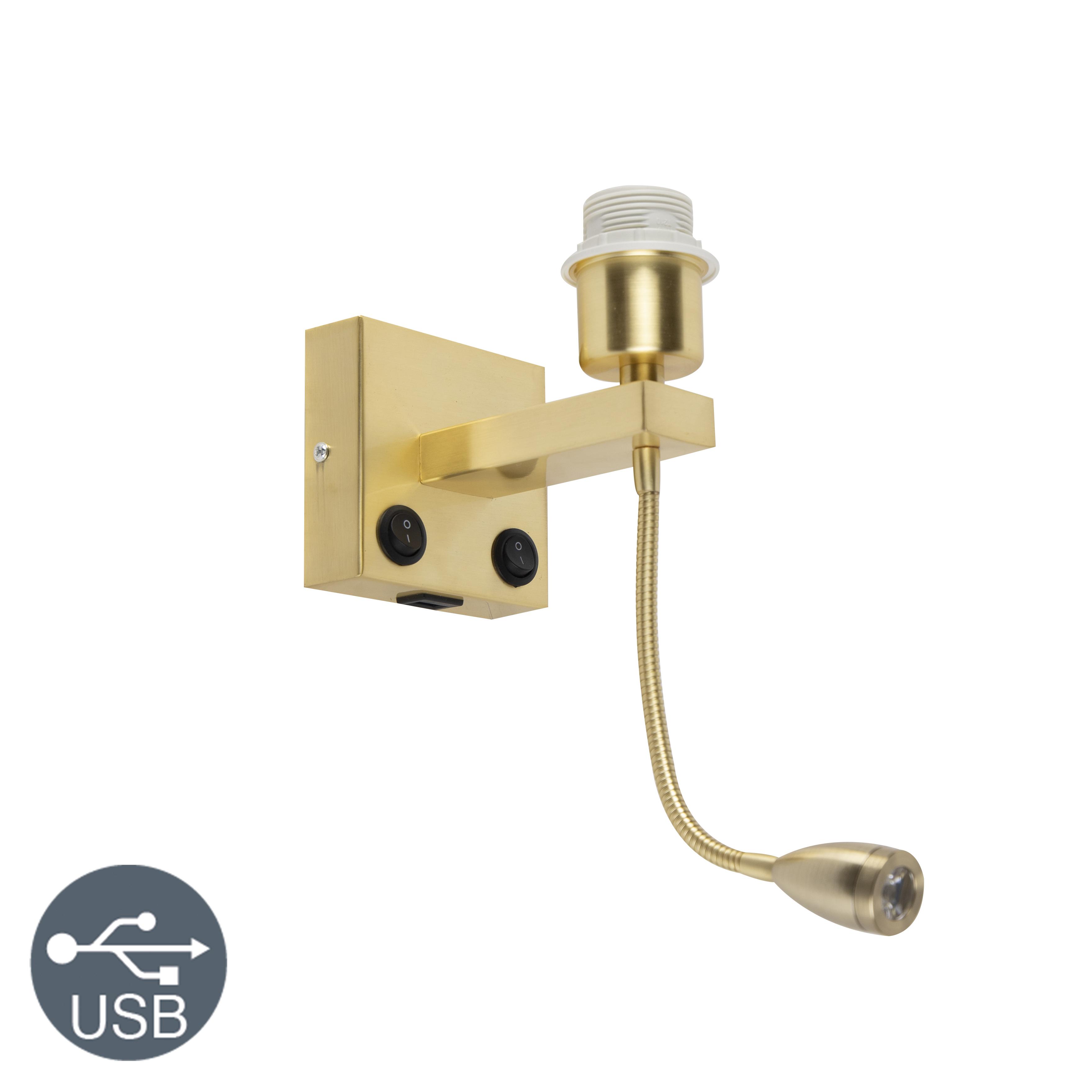 Nowoczesny kinkiet złoty z elastycznym ramieniem USB - Brescia Combi