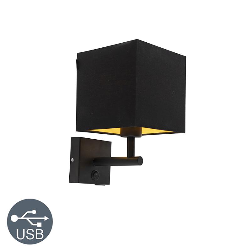 Wandlamp zwart met USB en kap 16cm zwart - Zeno