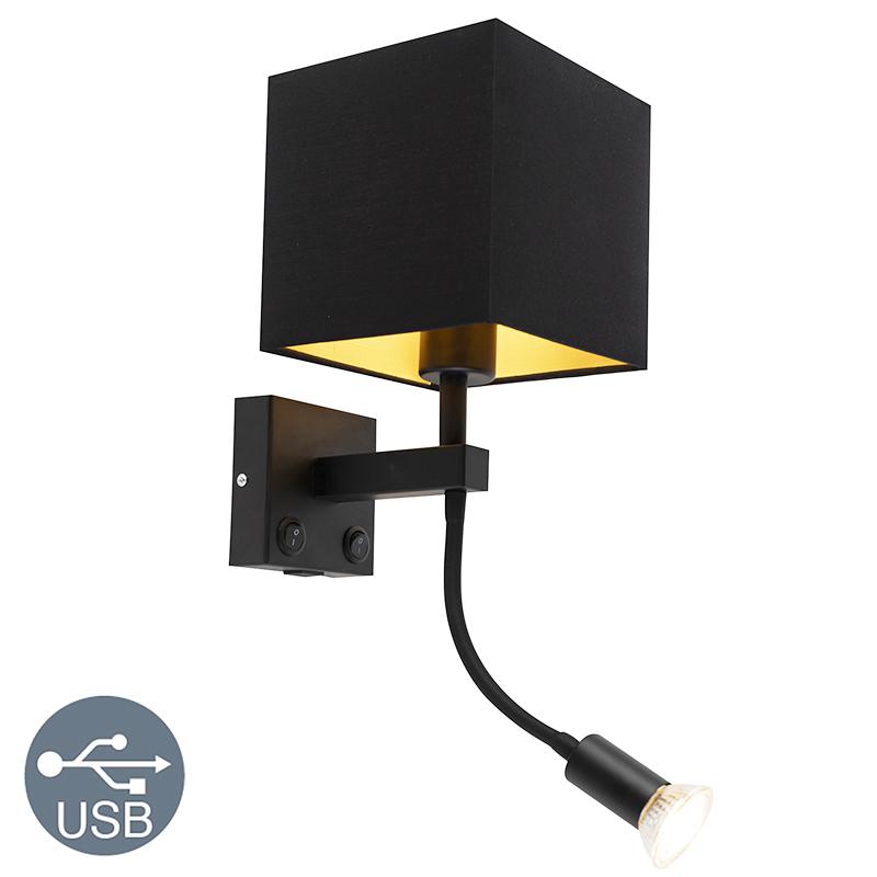 Moderne wandlamp USB zwart met flexarm kap zwart - Brescia Combi