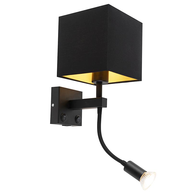 Moderní nástěnná lampa černá s USB a čtvercovým černým odstínem - Zeno