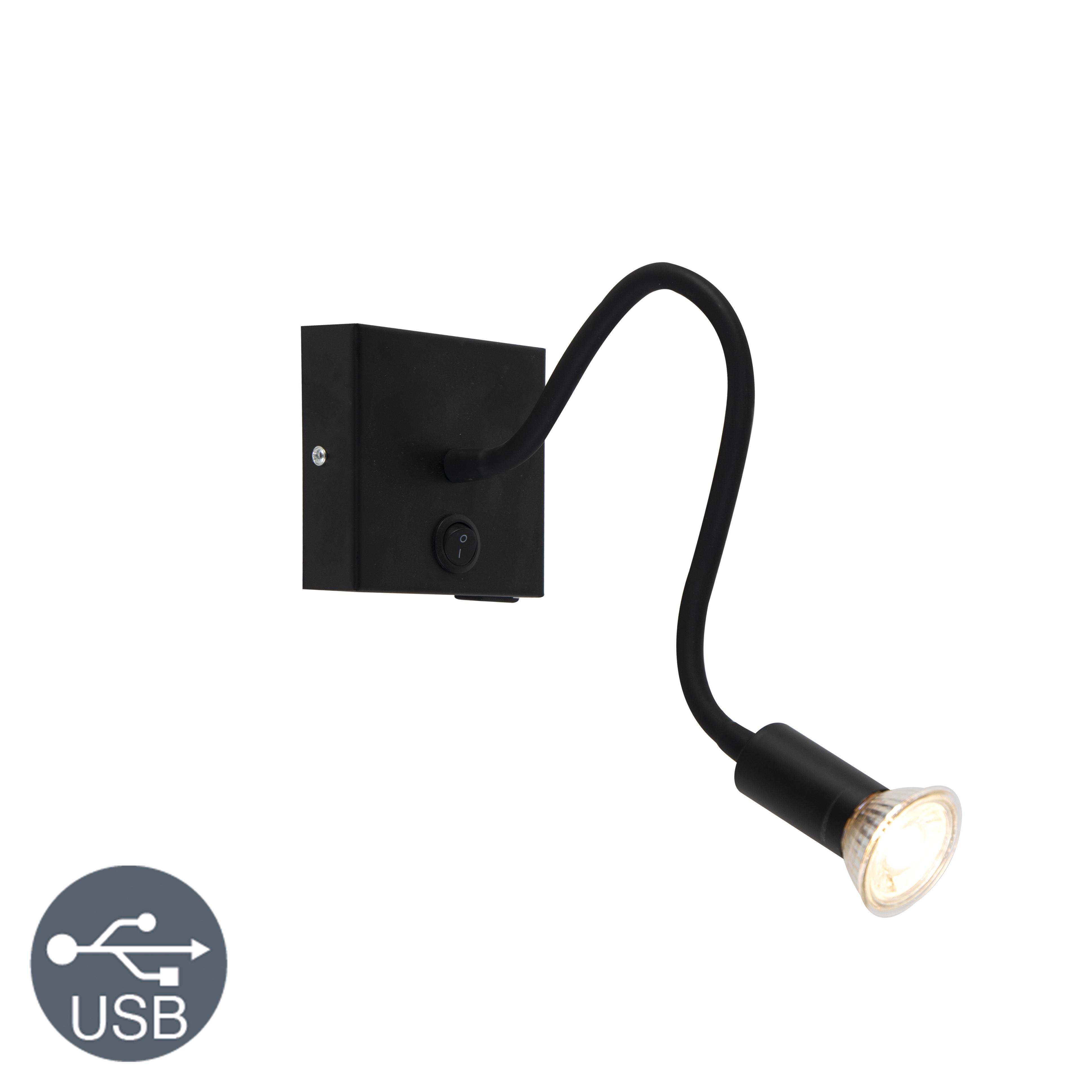 Nowoczesny elastyczny kinkiet USB czarny - Zeno