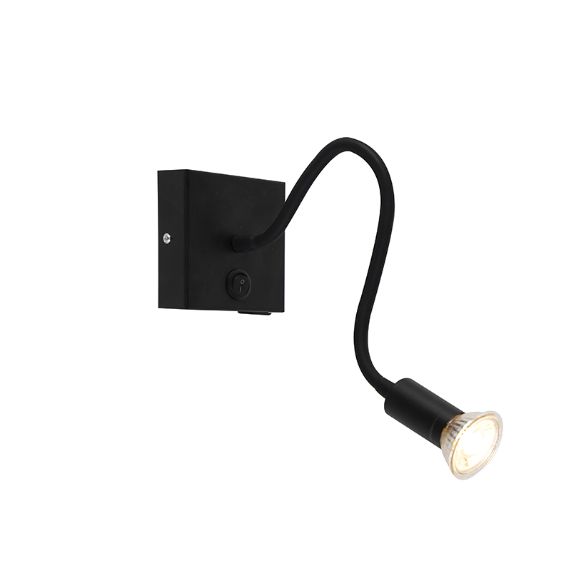 Moderne flexibele wandlamp USB zwart - Zeno