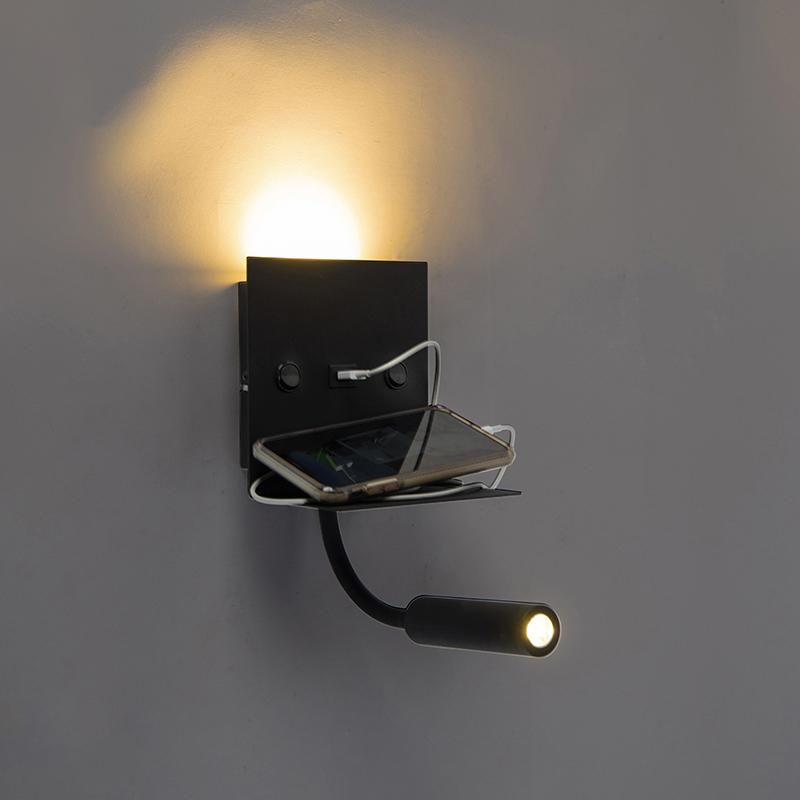 Moderne wandlamp USB zwart met flexarm - Duppio