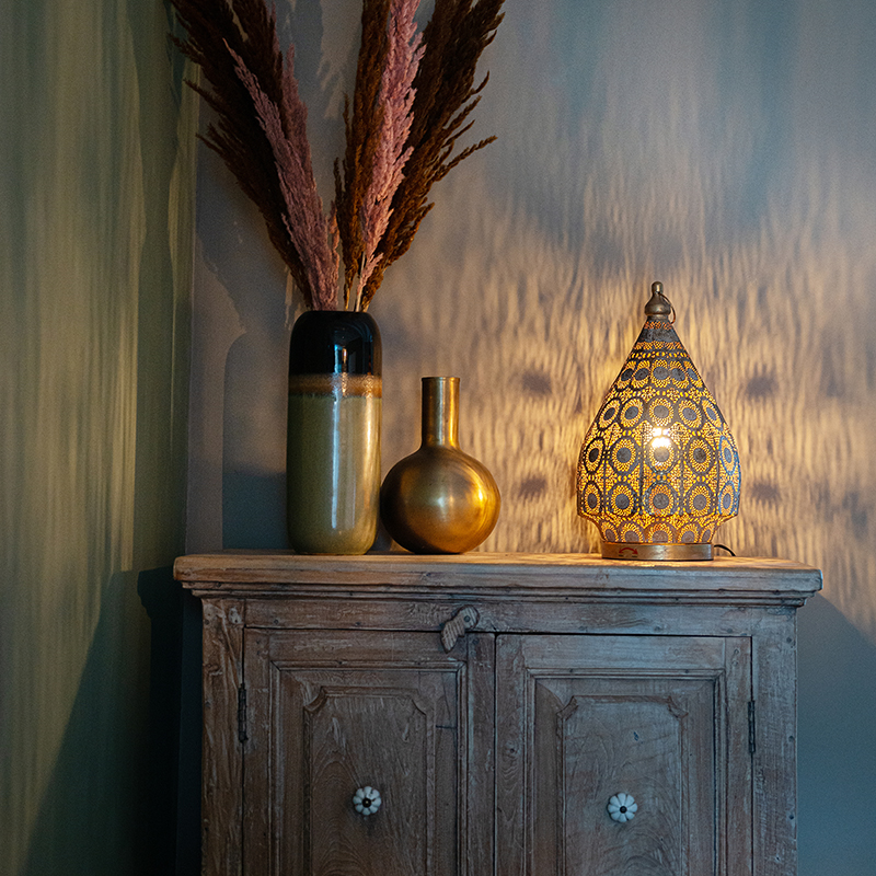 Oosterse tafellamp goud 28 cm - Mowgli