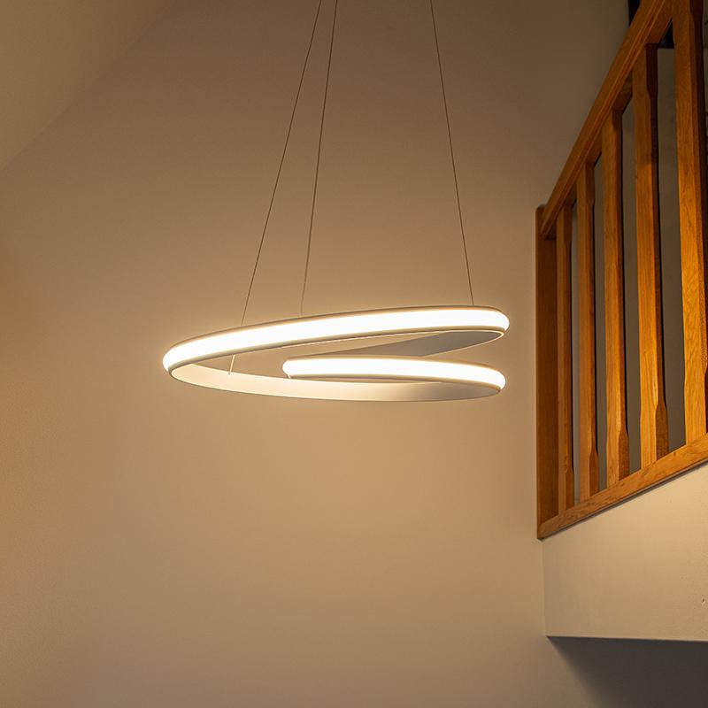 Moderne hanglamp wit 55cm incl. LED 3 staps dimbaar - Rowan