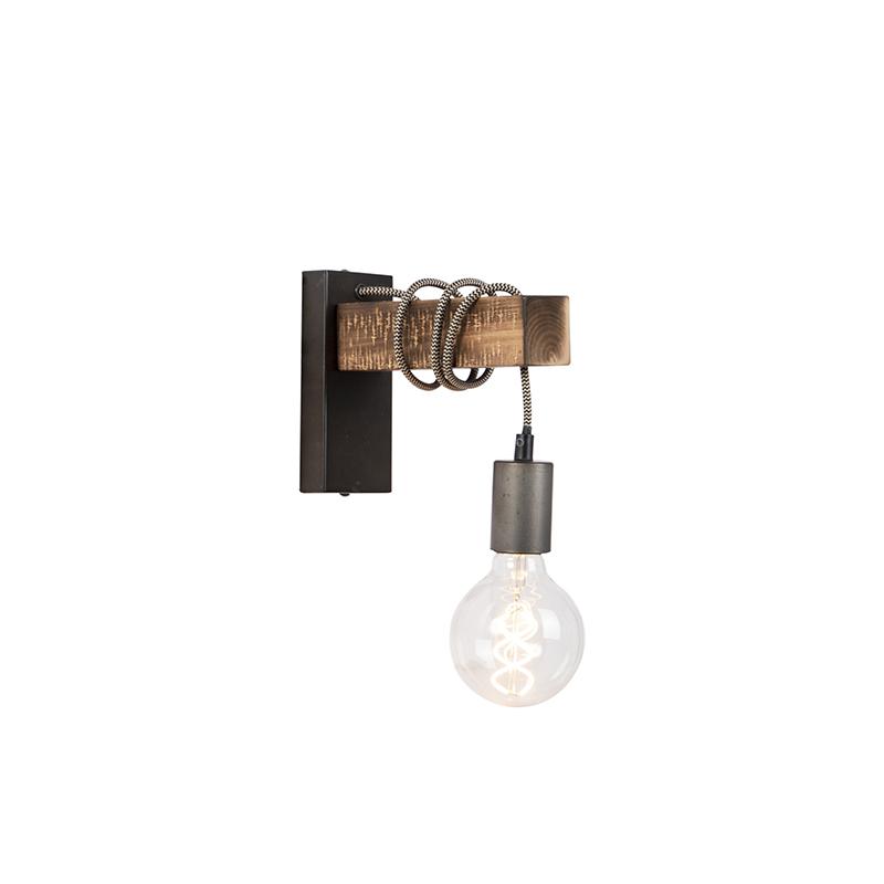 Przemysłowa lampa ścienna czarna z drewnem - Gallow