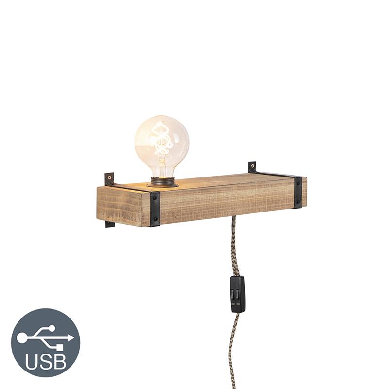 Industrialny kinkiet USB drewno - Reena