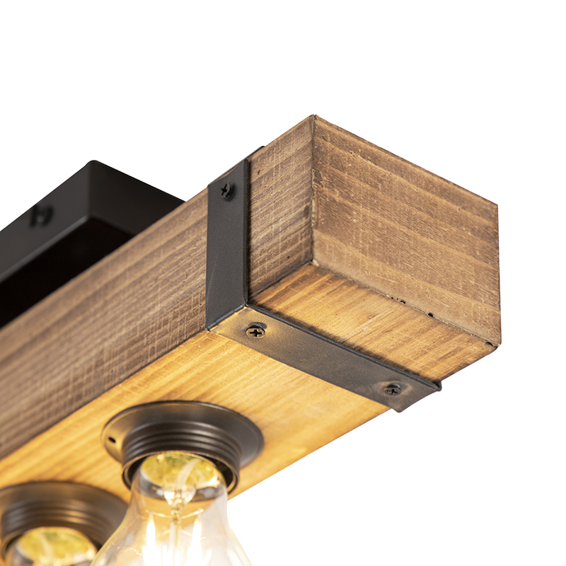 Industri�le plafondlamp hout met staal - Reena