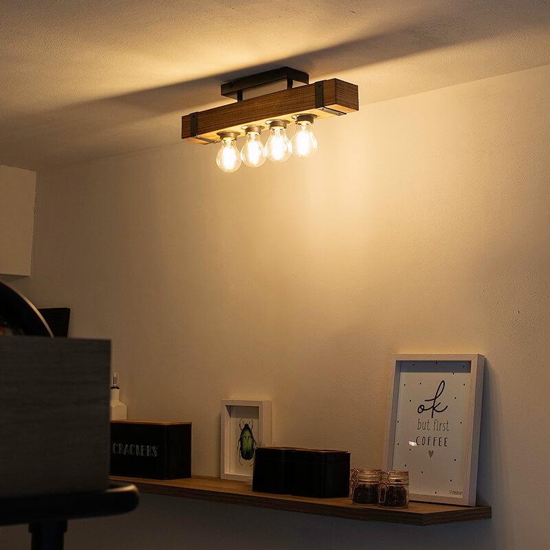 Industri�le plafondlamp hout met staal 4-lichts - Reena
