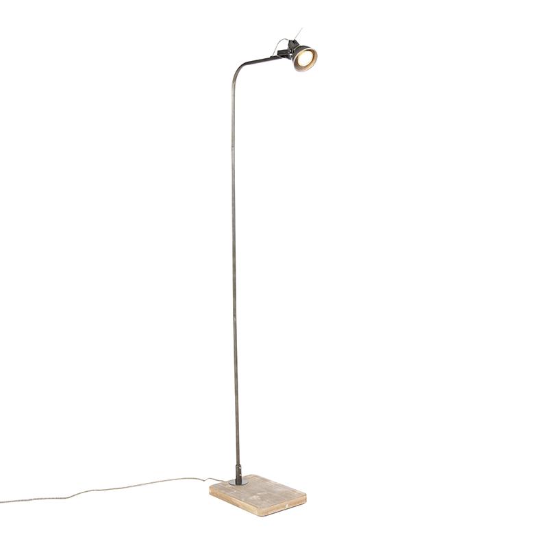 Industriele vloerlamp zwart met hout - Reena