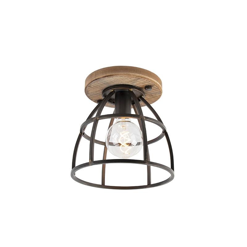 Industriële plafondlamp zwart met hout - Arthur