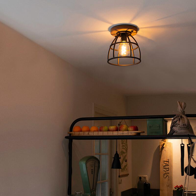 Industri�le plafondlamp zwart met hout - Arthur